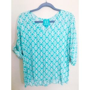 Light Turquoise Patterned Escapada Top